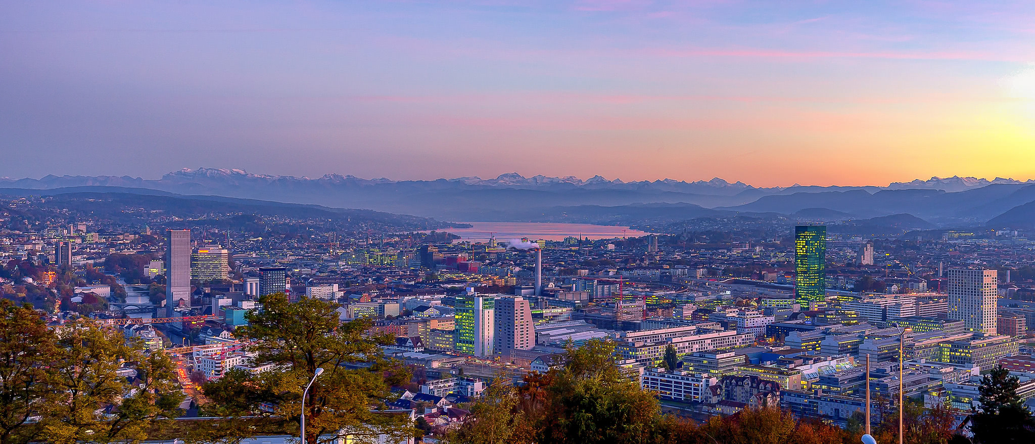Zurich purple hour (panorama shot)